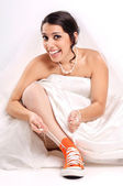 Funny bride shoes — Stock Photo