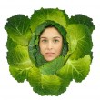 Cabbage girl — Stock Photo