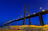 Vasco da Gama Bridge by night — Stock Photo