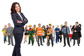 Businesswoman with crowd or group of different isolated in white — Stock Photo