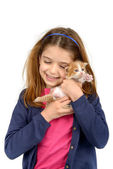 Girl with baby cat — Stock Photo