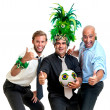 Businessmen with brazilian soccer ball — Stok fotoğraf