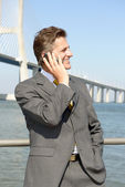 Businessman with cellphone — Stock Photo