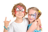 Face painting, spider web — Stock Photo