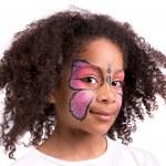 pintura facial, borboleta — Foto Stock