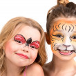������, ������: Face painting tiger and ladybug