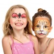 Face painting, tiger and ladybug — Stock Photo #37776021