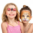 Stock Photo: Face painting, tiger and ladybug
