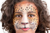 Face painting, leopard — Stock Photo