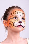 Ansikte målning tiger — Stockfoto