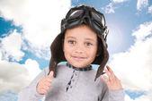 Boy with pilot helmet — Stock Photo