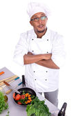 Male chef with fruits — Stock Photo