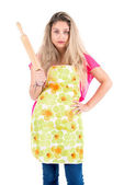 Woman with rolling pin — Stock Photo