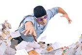 Businessman swimming in papers — Foto Stock