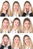 Business woman with several faces — Stock Photo