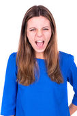 Angry faced young woman — Stock Photo