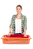 Woman doing the laundry — Stock Photo