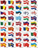 Waving flags of the European countries — Stock Vector