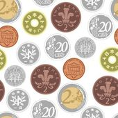 Colorful background with an image of coins — Vecteur