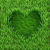 Heart on green grass. — Stock Vector