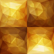 Gold Abstract Triangular Backgrounds Set — Stock Vector