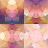 Pink Violet Abstract Triangular Backgrounds Set — Stock Vector