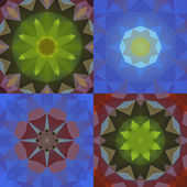 Kaleidoscope abstract colorful patterns set — Wektor stockowy