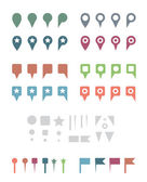 Simple Colorful Flat Map Pins and Elements. — Stock Vector