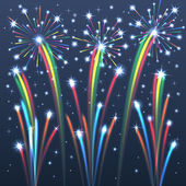 Colorful Illuminated Fireworks. — Stock Vector