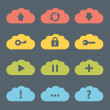 Flat Clouds Icon Set. — Stock Vector