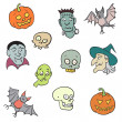 Colorful Halloween Characters Set. — Stock Vector
