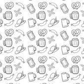 Black and White Octoberfest Seamless Background. — Stock Vector