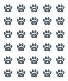 Traces of Cat Icons Set. — Stock Vector