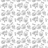 Schwarze und weiße Textil-Halloween-Spaß Muster. — Stockvektor