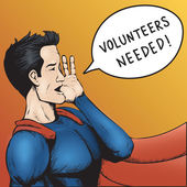 Volunteers Wanted! Cartoon Vector Illustration. — Vettoriale Stock
