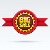Red Sale Badge With Shadow on White Background. — Stock Vector