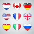 Glass Heart Flags of Countries Icon Set. — Stock Vector