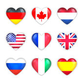 Glass Heart Flags of Countries Icon Set. Isolated on White. — Stock Vector