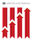 Red Striped Arrows and Ribbons. — Stock Vector