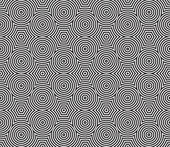 Black and White Psychedelic Circular Textile Pattern. — Stock Vector