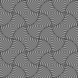 Black and White Psychedelic Circular Textile Pattern. — Image vectorielle