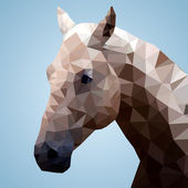 Head of a bay horse in triangular style — Stock Vector