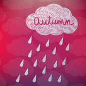 Autumn Background with a Cloud and Rain — Stock Vector