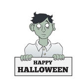 Cartoon Melancholy Zombie with Sign — Stock Vector