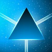 Ciemny niebieski trójkąt na streszczenie tło kosmiczne — Wektor stockowy