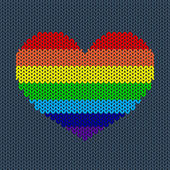 Rainbow Knitted Heart — ストックベクタ