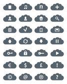 Sada ikon jednoduché ploché mraky. — Stock fotografie
