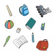 Colorful School Carton Items — Stock Vector