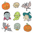 Halloween Cartoon Characters Set. — Stock Photo