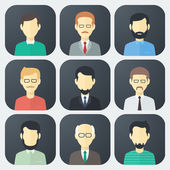 Male Faces Icons Set — Stock Vector